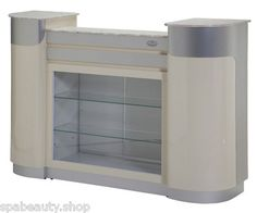 2012 Beige Aluminum Reception Counter Desk w Glass Diplay Shelves Spa Salon | eBay