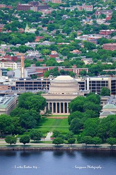Boston Massachusetts Institute of Technology campus with trees and lawn aerial view with Charles River Independence Hall, Freedom Trail, Massachusetts Institute Of Technology, Boston Massachusetts, Beautiful Sites, Neoclassical, In Boston, Aerial View, Cape Cod
