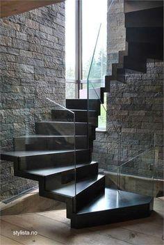 Black stairs modern stairways staircase design Ideas for 2019 Interior Stairs, Interior Architecture, Interior Design, Building Architecture, Black Stairs, Escalier Design, Floating Staircase, Dark Staircase, Spiral Staircases