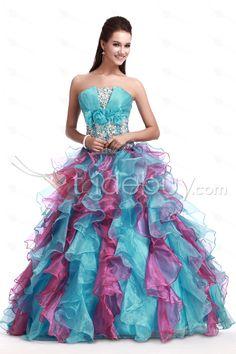 人気ストラップレスオーガンザ床まで届く長さカラープリンセスドレス