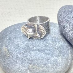 Excited to share the latest addition to my #etsy shop: Silver band ring, fine silver ring, three dimensional, wide band ring, textured ring, rustic jewelry, one of a kind ring, organic jewelry