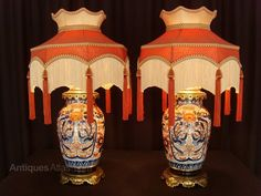 We are delighted to offer for sale this beautiful pair of Japanese Imari porcelain table lamps, which were, in our opinion, converted from vases circa 1920s, with the addition of the ornate brass bases and matching caps. They bear bespoke shades by the makers of the Downton Abbey TV series Antique Table Lamps, The Dorchester, Antique Auctions, Downton Abbey, Fabric Covered, Antique Gold, 1920s, Bespoke, Vases