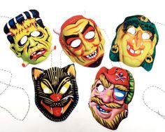 Vintage Halloween Garland,  2-D Funny Masks. $15.50, via Etsy.
