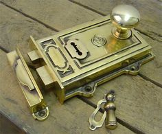 Davenport Brass Rim Lock Set - Lovely example of a single level, dual-handed…