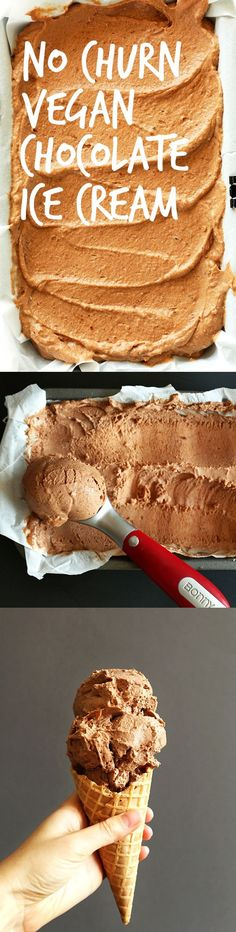 CREAMY No Churn Chocolate Ice Cream that's #vegan #glutenfree and 100% refined sugar free