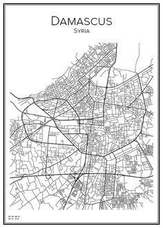 Damascus. Syria. Map. City print. Print. Affisch. Tavla. Tryck. Stadskarta.
