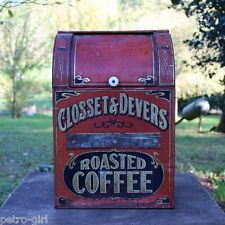 Antique Closset & Devers Roasted Coffee Tin General Store Display Bin Container