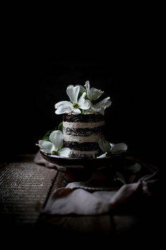 chocolate lavender cake with mascarpone cream