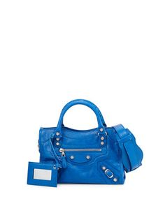 Giant 12 Mini City Leather Bag, Bright Blue by Balenciaga at Neiman Marcus.