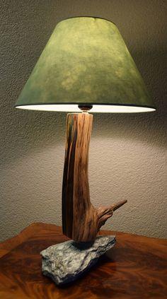 Table Lamp Wood, Wooden Lamp, Woodsy Decor, Rock Lamp, Den Decor, Driftwood Lamp, Homemade Home Decor, Concrete Wood, Rock Decor