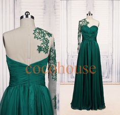 Hunter Green Applique Long Fasion Prom Dresses Beaded by cocohouse, $128.00