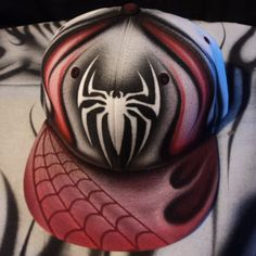 Airbrushed Spiderman Snapback Hat Hand Painted airbrush