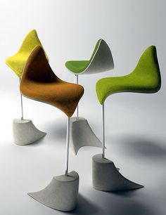 Loft Ideas:  Great, unusual chairs - Quite the Perch: Very Modern Stools