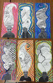 photos des élèves avec cheveux dessinés