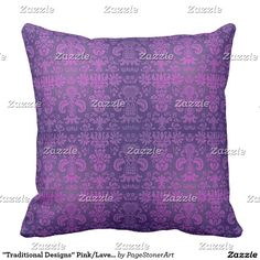 """""""Traditional Designs"""" Pink/Lavender Throw Pillow"""