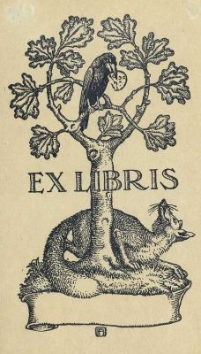 Ex libris - anonim Illustration, Drawings, Linocut, Ex Libris, Bookplate Design, Woodcut, Book Art, Fox Art, Prints