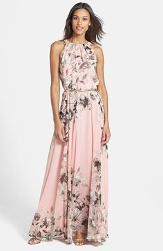 Beautiful floral Blush Maxi. Would be pretty for Mother of the Bride or Maid of Honor with Bridesmaids in solid Blush.