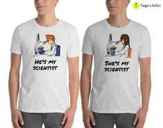 Items similar to Couples Science Biology Matching Unisex T Shirt for Wedding Bachelor Bachelorette Boyfriend Girlfriend: Nerd Geek with Microscope White on Etsy