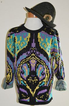 Vintage 1980s Pull Over Sweater Colorful by founditinatlanta, $35.00