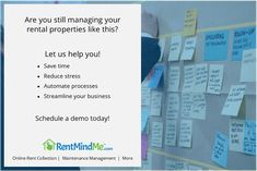 RentMindMe is online rental management software that helps Landlords and Property Managers collect rent, manage maintenance and streamline communications. Reduce Stress, Rental Property, Virtual Assistant, Property Management, Being A Landlord, Flexibility, Improve Yourself, Software, Freedom
