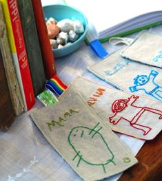 embroidered bookmarks with kids' drawings... so precious