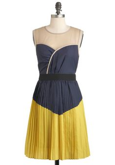 The color blocking and old style grab my eye on this dress- Turn the Pleat Around -Modcloth