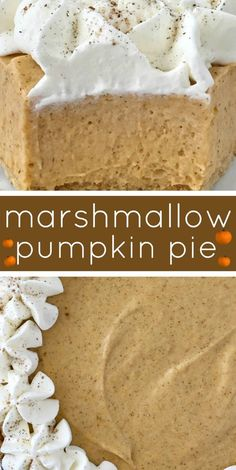 No Bake Marshmallow Pumpkin Pie - No Bake Pumpkin Pie with Marshmallows is a sweet and creamy twist to classic pumpkin pie. Marshmallow, Cool whip, and pumpkin combine to make a delicious pumpkin pie in a store-bought graham cracker crust. Pumpkin Baking Recipes, No Bake Pumpkin Pie, Baked Pumpkin, Pumpkin Dessert, Pie Dessert, Pumpkin Pie Recipe Graham Cracker Crust, Pumpkin Spice, Pumpkin Pie Cupcakes, Graham Cracker Dessert