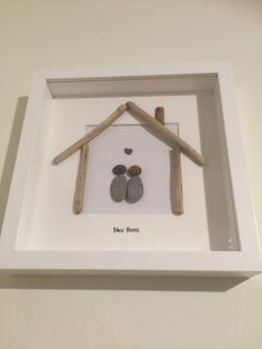HANDMADE BEACH PEBBLE DRIFTWOOD ART PICTURE NEW HOME, HEART, UNIQUE GIFT