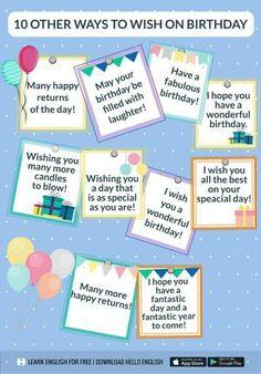 Birthday wish, English vocabulary English Fun, English Idioms, English Phrases, English Writing, English Study, English Words, English Grammar, English Speaking Skills, English Language Learning