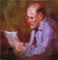 man reading - Good news - Donna MacDonald, Canada Impressionism, Good News, Saatchi Art, Fine Art, Reading, Oil, Painting, Fictional Characters, Canada