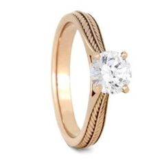 Solitaire Engagement Ring, Moissanite Ring in 14k Rose Gold-2357