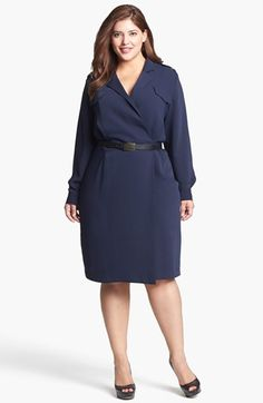 Calvin Klein Faux Wrap Shirtdress (Plus Size) available at #Nordstrom