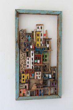 Rock village' is de meest ondiepe Habitat uit de serie. 47 x 25 x 4, ©️️️ 2012, verkocht Ruimtelijk | Beelden | Mixed Media