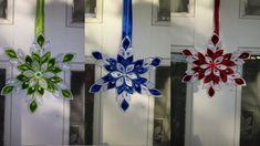 Satin ribbon snowflake / Christmas decoration / kanzashi / Super easy to. Paper Snowflake Designs, Snowflake Decorations, Snowflake Ornaments, Christmas Snowflakes, Glass Christmas Ornaments, Handmade Decorations, Christmas Wreaths, Christmas Crafts, Christmas Decorations