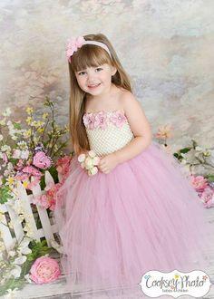 Newborn - Size 9 Elegant Ivory and Mauve Flower Girl Tutu Dress
