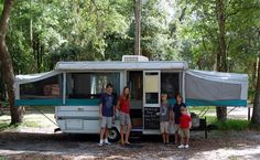 Jayco pop up camper, the chalkboard paint door adds an element of fun