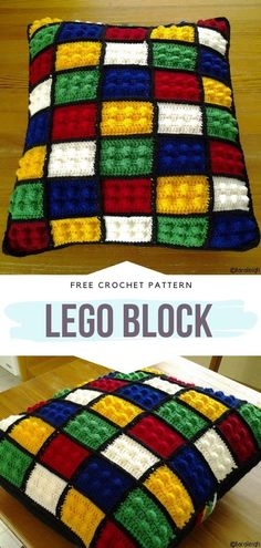 How to Crochet Lego Block Lego Block Free Crochet Pattern Not only kids get to play with legos! Now you can crochet your own lego pillow, blanket or throw using this simple bobble stitch motif. Go crazy with the colors! Crochet Cushions, Crochet Blanket Patterns, Crochet Stitches, Knitting Patterns, Knitting Ideas, Kids Knitting, Easy Knitting, Bobble Stitch Crochet, Crochet Afghans