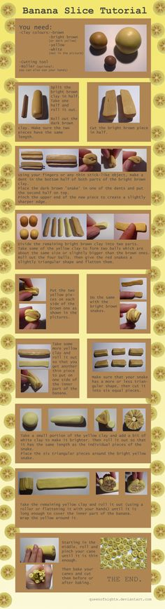Banana Slice Tutorial by QueEnOfNights on DeviantArt Polymer Clay Canes, Polymer Clay Miniatures, Fimo Clay, Polymer Clay Projects, Polymer Clay Creations, Dollhouse Miniatures, Biscuit, Fondant, Banana Slice