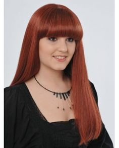 US$281.99 Beautiful Long Straight Neat Bang 100% Human Hair Wig - Mylovewigs.com