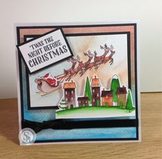 Designed by Kelly- Nordic Christmas - 6x6 card - Nordic Santa's Delivery stamps - Spectrum Noir pens, red berry, harvest moon, aquamarine, smoked quartz, crystal clear #spectrumnoir #nordic #christmas #handmade #craft