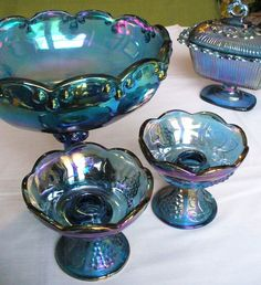 Indiana Harvest Carnival Glass Collection, pedestal bowl, candle holders and butter dish