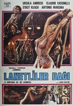 Title: Lanetliler Dagi Poster released: Turkey, 1978. Original film title: The Mountain of the Cannibal God). Film released: United States and Italy, 1979. Filmed: Central Province, Sri Lanka, 1977-8. Starring: Ursula Andress, Stacy Keach, ClaudioCassinelli. Producer: Luciano Martino. Director: Sergio Martino. Poster type: Turkish one sheet. Dimensions: 39.5 x 27.5 inches = 100 x 70cm.
