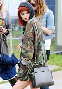 In 2009, Pixie Geldof sported a classic camo jacket at #Glastonbury // #CelebrityStyle