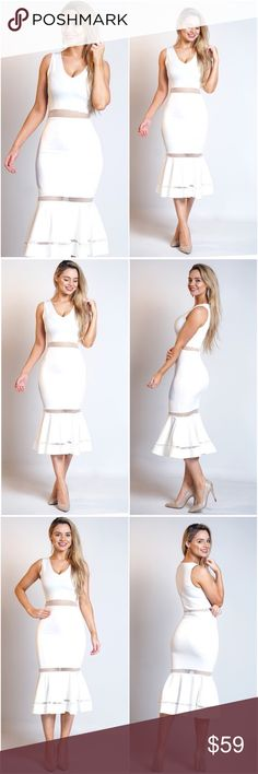 "🆕JUST IN Emma Mesh Fishtail Dress in White Make an entrance wherever you go in this striking white fishtail style dress, featuring a plunge V neckline, curve hugging fit and mesh panel detailing. Pair with strappy heels and you've got your go-to party-wear look for whatever you're celebrating this spring. 💋  Approx length:45""(114cm) 95% Polyester 5% Elastane Multiple sizes available A Mermaid's Epiphany Dresses Midi"