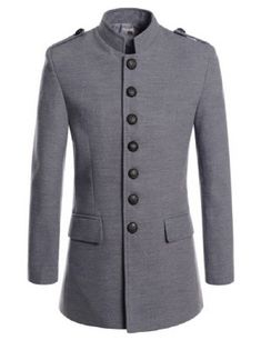 Mancave Men Single Breasted Solid Color Turndown Collar Back Flap Trench Coat