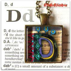 Alphabet  letter necklace Alphabet by RyokoRainbow on Etsy