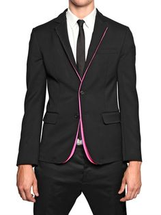 STRETCH WOOL CADY AND NEON PIPING JACKET