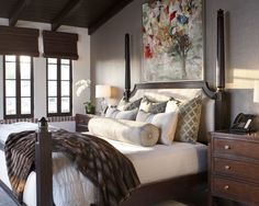 Mediterranean Spaces Country Style Bedroom Design, Pictures, Remodel, Decor and Ideas - nice wall paper behind the bed