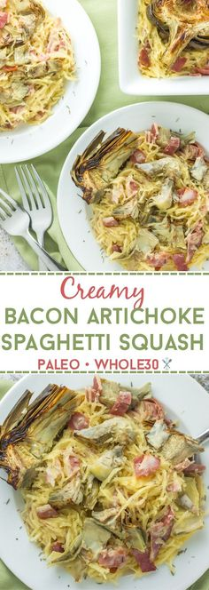 This whole30 and paleo creamy bacon artichoke spaghetti squash is the perfect comfort meal with savory bacon and fresh roasted artichokes! Dairy free and gluten free.