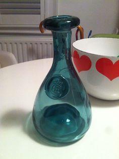 Holmegaard 1960s Blue /green Glass Carafe seal CE below crown: Cherry Elsinore